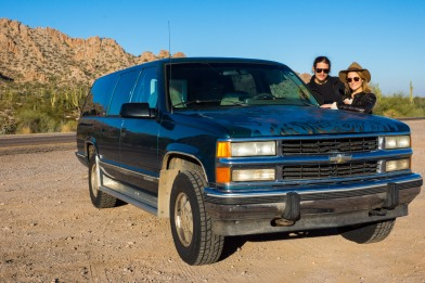 Leaving the Arizona desert with our fancy 4x4