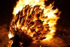 A fire heats cold desert nights up