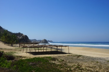 Deserted palapas on a deserted beach