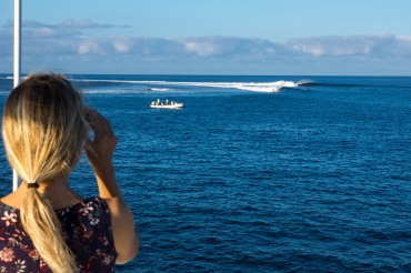 On top of a yacht: Best view in the house for the Fiji Pro