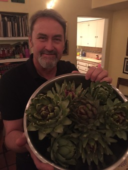 Alan and his harvest from the garden