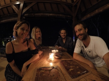 Kat, Roger and two surfsmurfs who shouldn't have ordered Pizza in an Indonesian seafood joint...