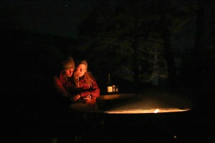 Hugs and fires against the cold